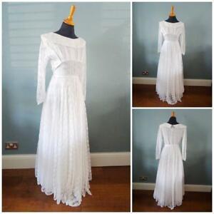 Vintage Wedding Dress Gown 1950s White Flora Lace Full Skirt Bride Bridal Ladies