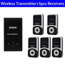 ATG100 PLL Wireless Tour Guide System Transmitter+5pcs 900mA Receiver Black Mini