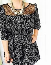 FOREVER 21 WOMDNS DRESS LINED GLORAL PRINT 3/4 Sleeve WORK PARTY Zip SZ 8