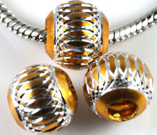 Lots Stainless Carved Spacer Loose Big Hole Bead Jewellery Making 6/8/10/12mm