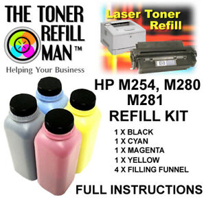 Toner Refill Kit For Use In HP Cartridges 203A Black, Cyan, Magenta, Yellow
