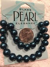 Beads--25Pc TEAL BLUE-Glass Pearl =10 mm-Jewelry Making-Necklace-Earrings-Crafts