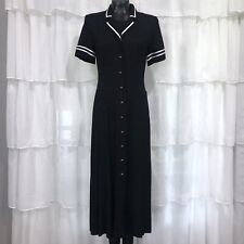 Size 8 - Vintage DANNY NICOLE NEW YORK Black And White Button Front Maxi Dress