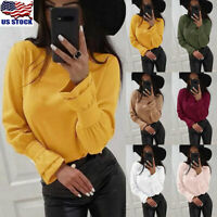 Womens Casual Solid Tops T-Shirt Ladies Round Neck Long Sleeve Blouse Jumper USA