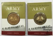 2001 Centenary of ARMY - $1 Mint Mark (C, S) Australian UNC coins - 2 coins