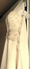 Size 8 Davids Bridal Beaded Detail Halter Champagne & Ivory Wedding Gown Elegant