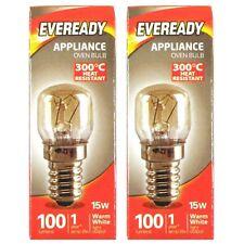 2 x Eveready Oven BULB 15W 100 Lumens 220-240V Appliance Cooker Lamp