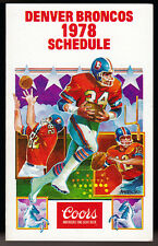 1978 DENVER BRONCOS COORS BEER FOOTBALL POCKET SCHEDULE FREE SHIPPING