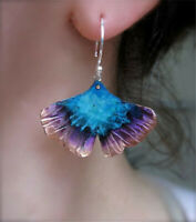 Fashion 925 Silver Fan-Shaped Earrings Two-tone Ear Hook Dangle Drop Women Gift