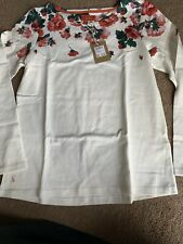 Joules Long Sleeve Harbour Top in Cream Rose Border Size 12