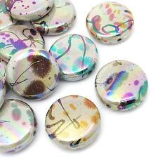 20 Mixte Perles intercalaires Acrylique Motif Fleur Rond Couleur AB 27mm B26278
