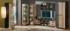 Wall Unit 7 Pieces with Display Case Rtv Shelf oak Living Room