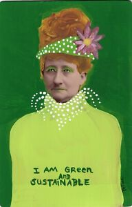 She Is Green and Sustainable Original Outsider Art Painting Portrait Vintage