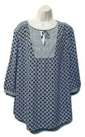 NYDJ Women's Blouse Plus Size 1X 3/4 Sleeve Tie-Front Pullover Top