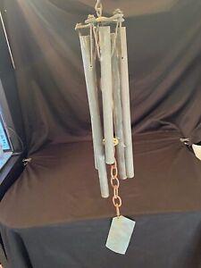 "Vtg 25"" Walter Lamb Era Style Wind Chime Verdigris Copper Patina Bronze 5 Tube"