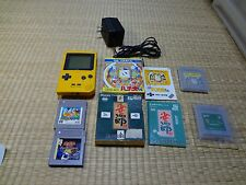 GAME BOY pocket Yellow Console MGB-001 Nintendo ac adapter lot of 4 games set
