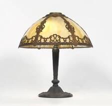 PITTSBURGH 6 BENT PANEL SLAG GLASS LEADED TABLE LAMP