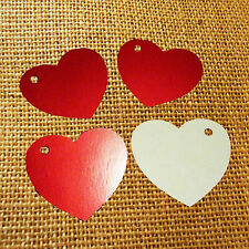 100 Heart Tags In Gloss Red - Valentines - Wedding - Wish Tree Tags. No String.