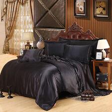 Bedding Set Black Imitated Silk Fabric Satins Bed Sheet Pillowcase Qeeen 4pcs