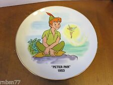 Peter Pan and Tinkerbell Disney Collector Plate with Gold Trim