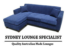 Brand New - AUS MADE Mossvale 3 seater chaise (Blue) Fabric Lounge Couch Modular