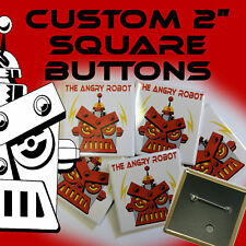 """250 Custom Made 2 inch SQUARE Pinback Buttons Badges 2"""""""