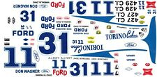 #11 or #31 AJ Foyt /Jack Bowsher Torino's 1/64th HO Scale Slot Car Decals