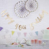HAPPY 40TH BIRTHDAY BUNTING / Gold Foiled Backdrop, Venue Deco, Party Decoration