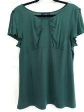 Women's Banana Republic green short sleeve pure silk green top Size L BNWT