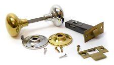 Vintage Door Knob Handle Privacy Bedroom Locking Latch Set Polish Brass & Chrome