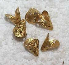 VINTAGE FILIGREE BRASS CORD END OR BEAD CAP FINDINGS   14  PCS  NICE YELLOWCOLOR