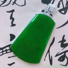 Burma Certified Grade A Ice Imperial Green Jadeite Jade 18K Gold Pendant #2198