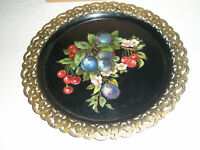 Vintage TOLEWARE Tray Round Cherries Plums Blossoms 1973 Signed