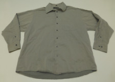 Kenneth Cole Mens 16.5 34/35 Grey Line Design Button Front Shirt Great Condition