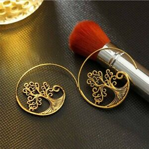 Stylish Vintage Gold Color, Tree Spiral. Threader Earrings