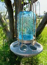 Galvanized Steele Bird Feeder With Blue Pint Mason Jar
