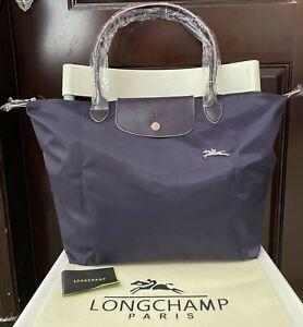 New Longchamp Le Pliage Tote Bag Nylon 1899 with Horse Embroidery Dark purple L