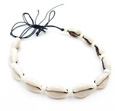 Cowrie Shell Black Cotton Tied Choker Necklace Boho Bone Beads Surfer Jewelry