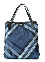 Burberry Buckleigh Nylon Shoulder Bag Tote Shopper Blue Nova Check New