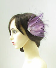 Lilac Light Purple Peacock Feather Fascinator Hair Clip Silver Vintage 1920s 188