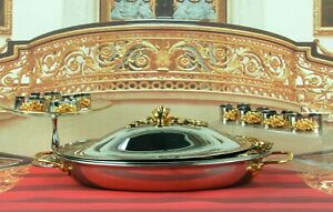Oneida 18/8 Stainless 24K Gold Rose Covered Casserole-Crystal Dish-Napkin Rings
