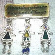 cute gramma never runs out of hugs silver tone aurora borealis brooch