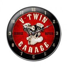 V TWIN Wanduhr groß Metall Schild Uhr V2 Werkstatt US Harley Intian Biker Garage