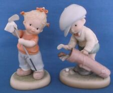 MABEL LUCIE ATTWELL PAIR OF VINTAGE GOLFING GIRL AND BOY CERAMIC FIGURINES