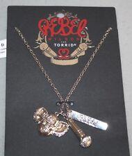 """Torrid~Rebel Wilson"" 3 Charm Necklace~Silvertone~NWT"