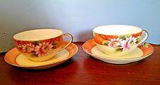 Vintage NORITAKE 1930's 2 Cup and Saucers - Pink Flowers On Orange Rim N3553