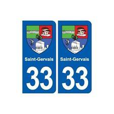 33 Saint-Gervais blason ville autocollant plaque stickers droits