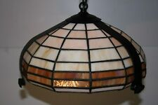 Ceiling Light . Handmade Leaded Glass Tiffany Style  With Painted Black Frame