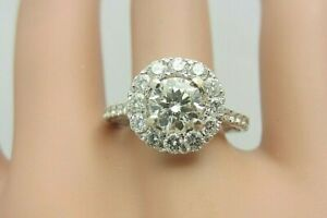 18K White Gold and 0.72 Carat Diamond Halo Engagement Ring 1.59 CT TW