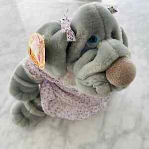 """Ganz Wrinkles 1981 Vintage 10"""" Plush Puppet Female Dog w/tag Dress Numbered"""